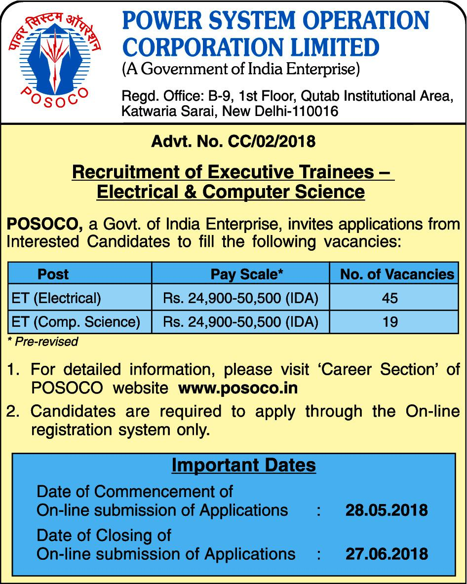 Power System Operation Corporation Ltd  Recruitment through